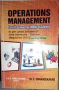 Operations Management For Ii Semester Mba Students - Dre Gnanasekaran