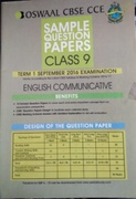 Oswaal Cbse Cce Sample Question Papers For Class 9 Term I April To September 2016 English Communicative - Panel Of Experts