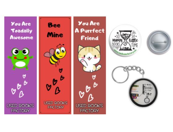 Pack Of 3 Bookmarks With Badge Keychain - Book Merchandise