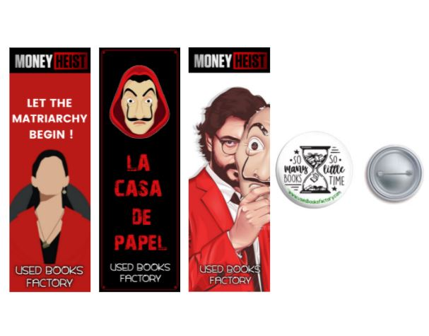Premium Themed Bookmarks Set 1 With Book Badge - Book Merchandise