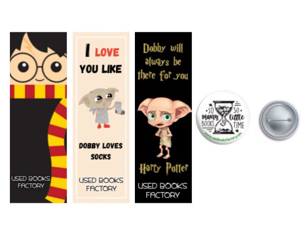 Premium Themed Bookmarks Set 2 With Book Badge - Book Merchandise