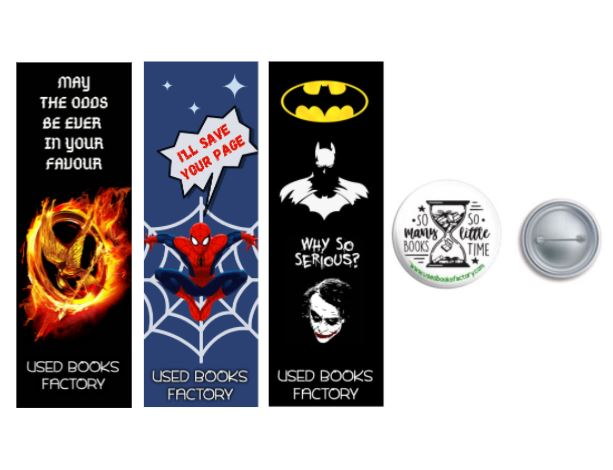 Premium Themed Bookmarks Set 3 With Book Badge - Book Merchandise