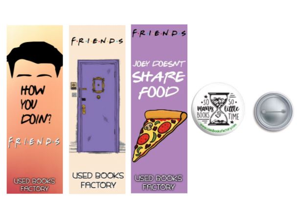 Premium Themed Bookmarks Set 4 With Book Badge - Book Merchandise
