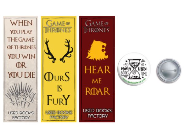 Premium Themed Bookmarks Set 5 With Book Badge - Book Merchandise