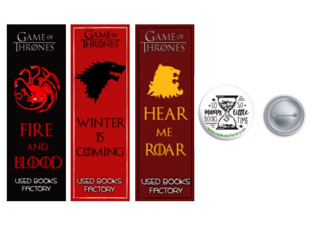 Premium Themed Bookmarks Set 6 With Book Badge - Book Merchandise